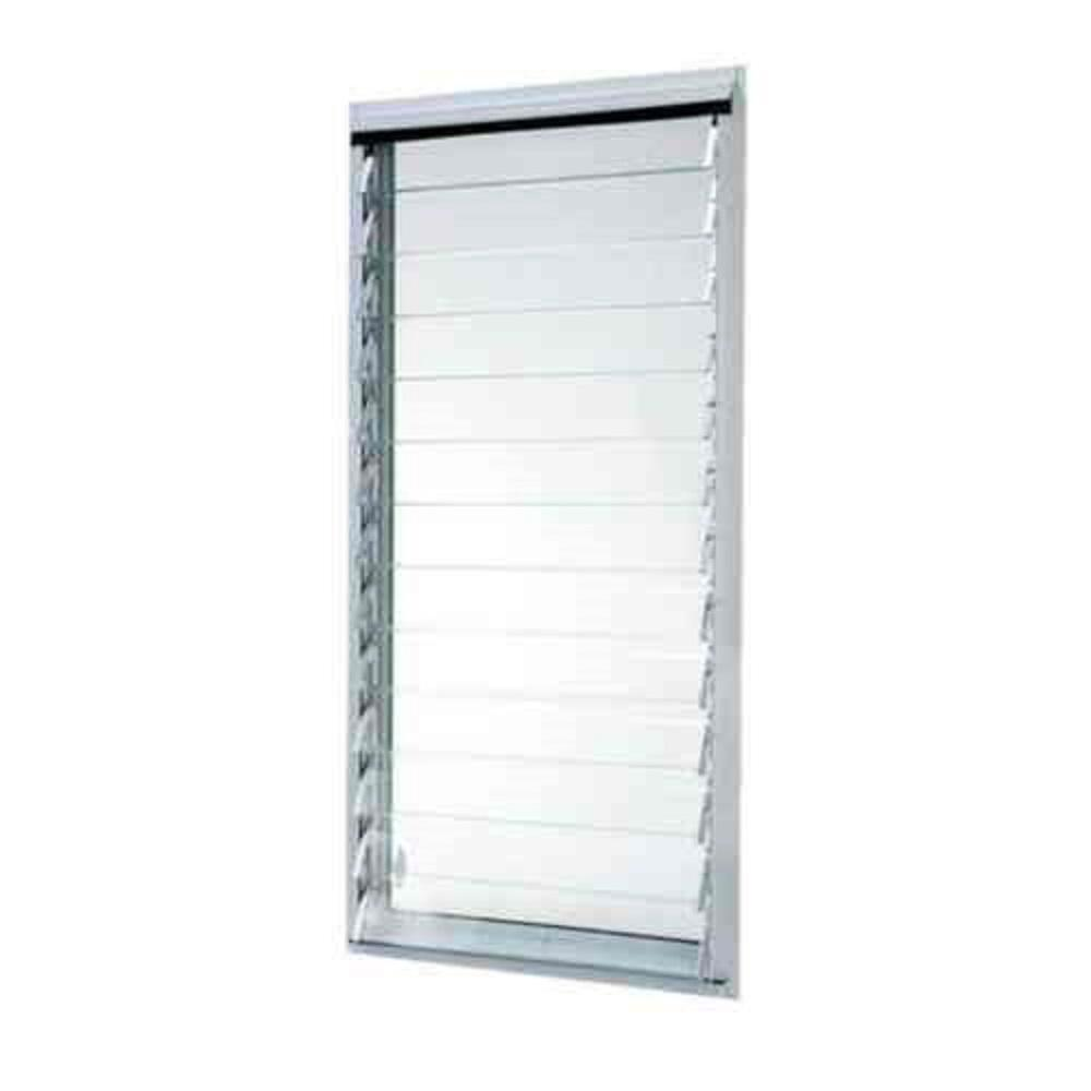 TAFCO WINDOWS 23 in. x 47.875 in. Jalousie Utility Louver Awning Aluminum Screen Window in White