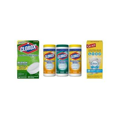 Get Your Bathroom Cleaner with Automatic Disposable Toilet Bowl Tablets, Disinfecting Wipes and 4 Gal. Trash Bags