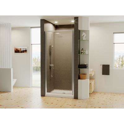 Legend 25.625 in. to 26.625 in. x 64 in. Framed Hinged Shower Door in Chrome with Obscure Glass