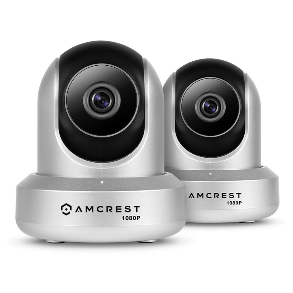 Amcrest ProHD 1080p Wi-Fi 2-Way Audio Wireless IP Security Camera with Pan/Tilt 1920TVL IP2M-841, Silver (2-Pack)