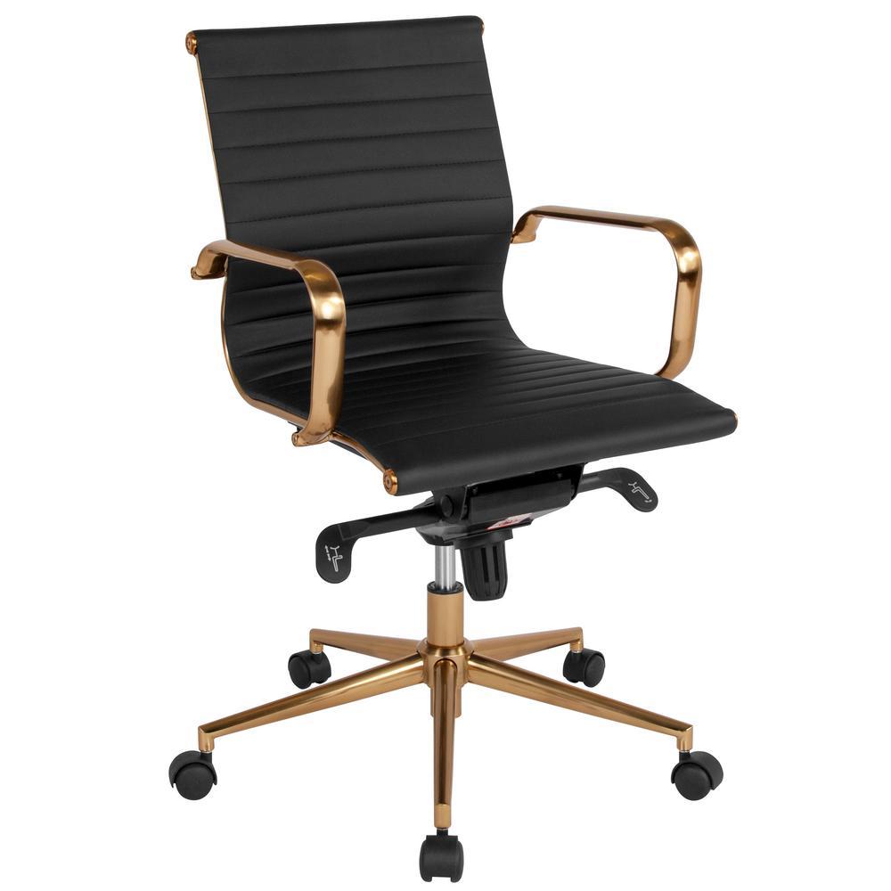 Flash Furniture Black Leather/Gold Frame Office/Desk Chair CGA-BT-239681-BL-HD
