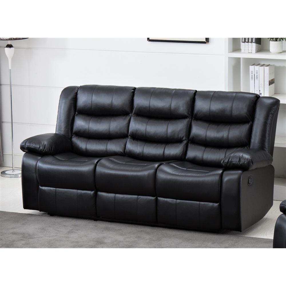US Pride Furniture Lawson Reclining Black Sofa-PU S6044-S ...