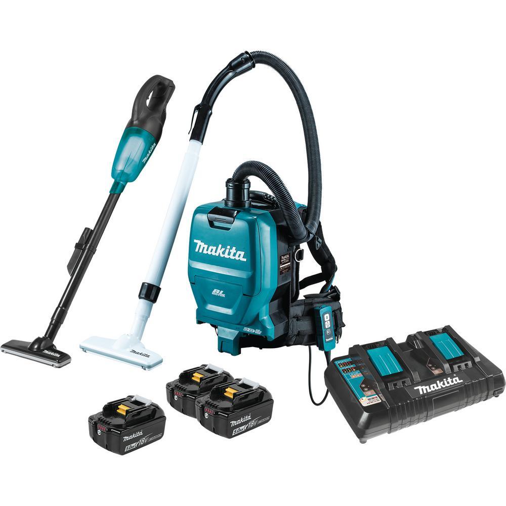 Makita 18-Volt LXT Lithium-ion Cordless Brushless Backpack Vacuum/Compact Vacuum 5.0Ah 2-Piece Kit