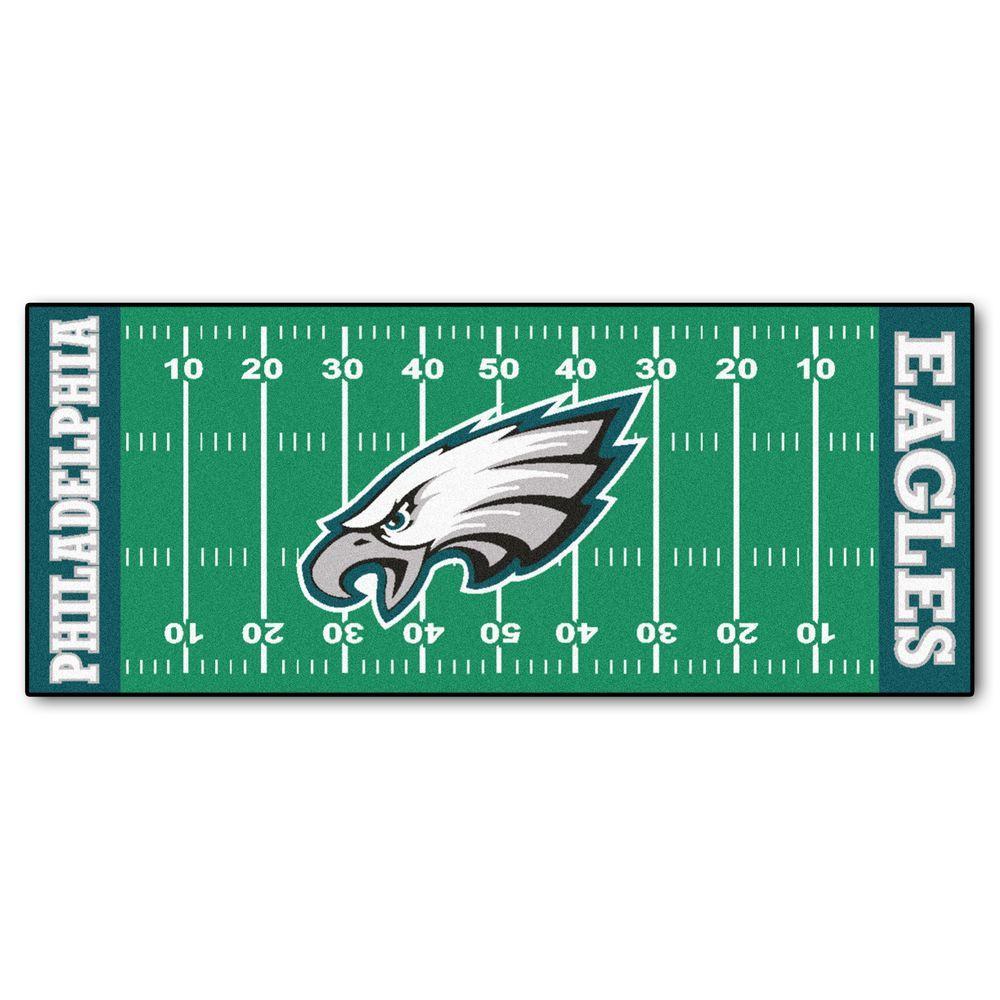 Philadelphia Eagles 3 ft. x 6 ft. Football Field Rug Runner Rug