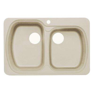Premium Offset Dual Mount Granite 33 in. 1-Hole Double Bowl Kitchen Sink in Sahara Beige