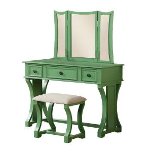 Modish Green Wooden Vanity Set Featuring Stool and Mirror (Set of 2)