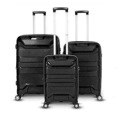 Casey Collection 3-Piece Black Upright Hard Side Spinner Luggage Set
