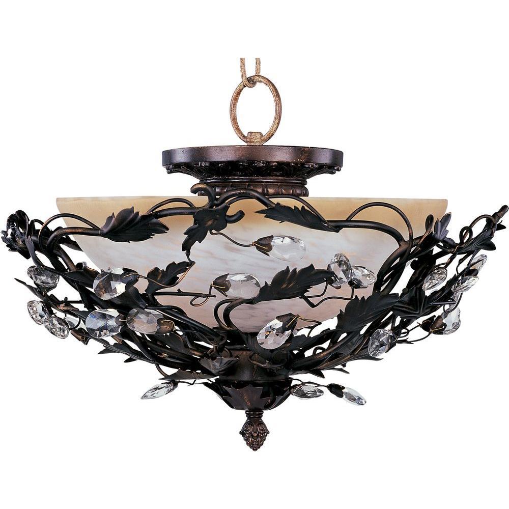 Elegante 3-Light Oil-Rubbed Bronze Semi-Flush Mount Light