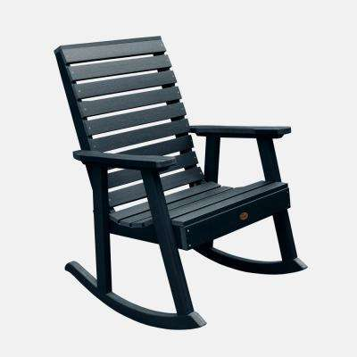 Weatherly Federal Blue Plastic Outdoor Rocking Chair