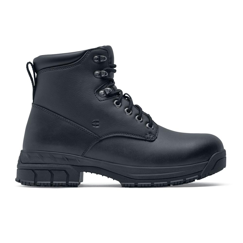 black leather steel toe work boots