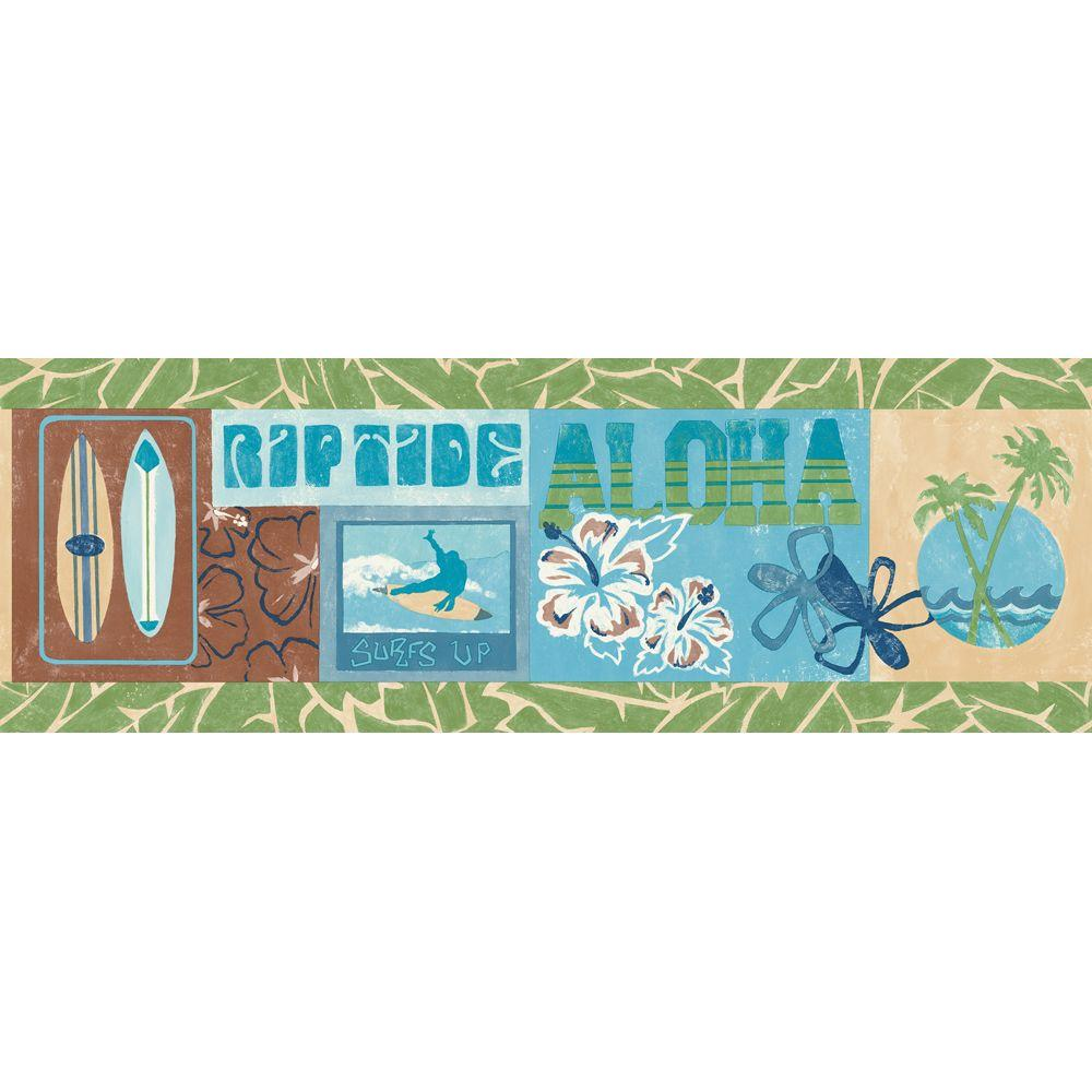 The Wallpaper Company 9.25 in. x 15 ft. Green and Blue Surf's Up Border