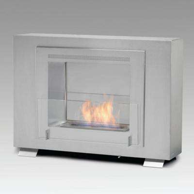 Wellington 2-sided 33 in. Ethanol Free Standing Fireplace in Stainless Steel with Stainless Interior
