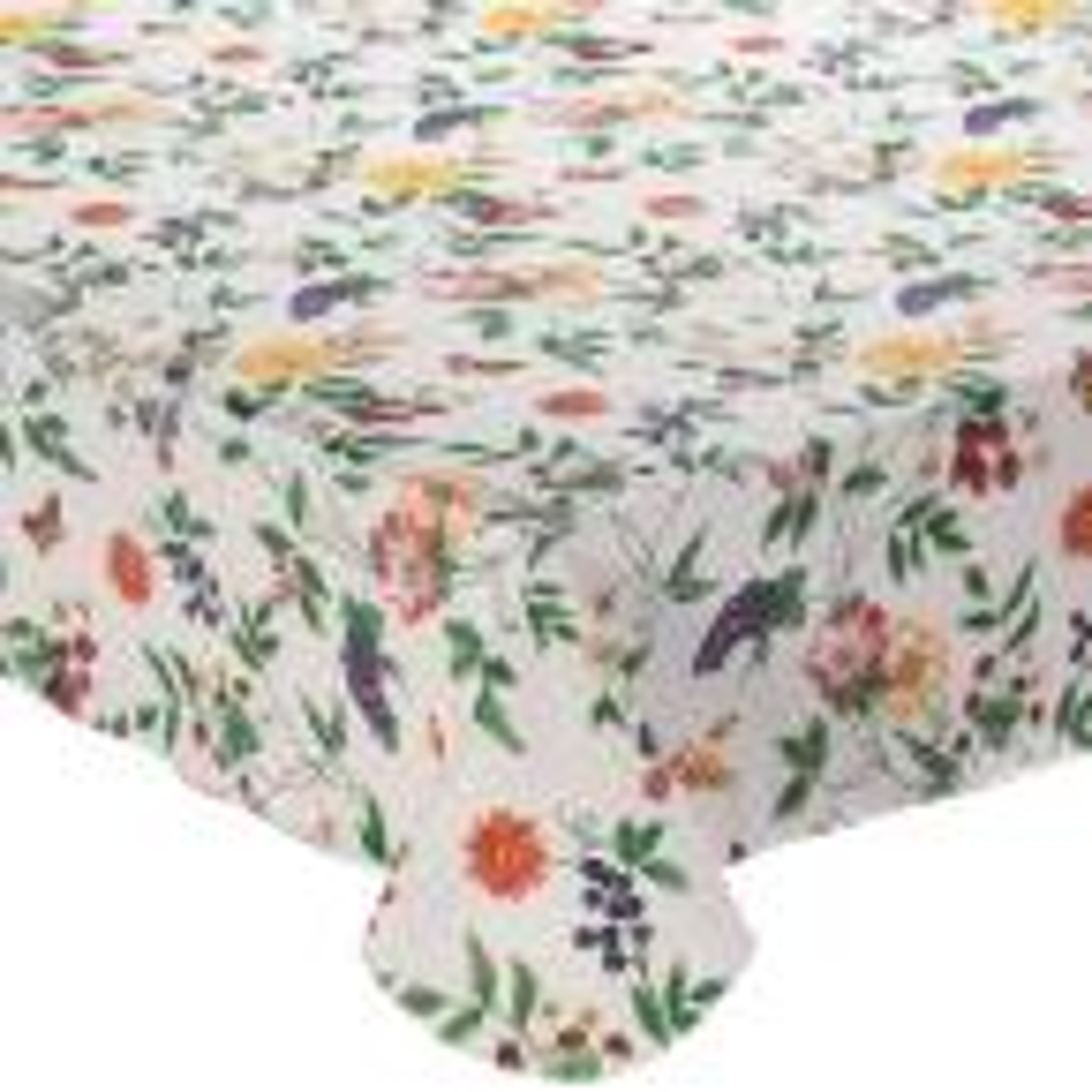 Enchanted Garden 60 in. x 120 in. 100% Vinyl Tablecloth