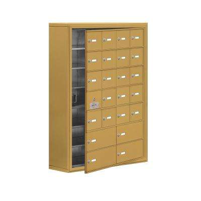 19100 Series 30.5 in. W x 42 in. H x 9.25 in. D 23 Doors Cell Phone Locker Surface Mount Keyed Lock in Gold