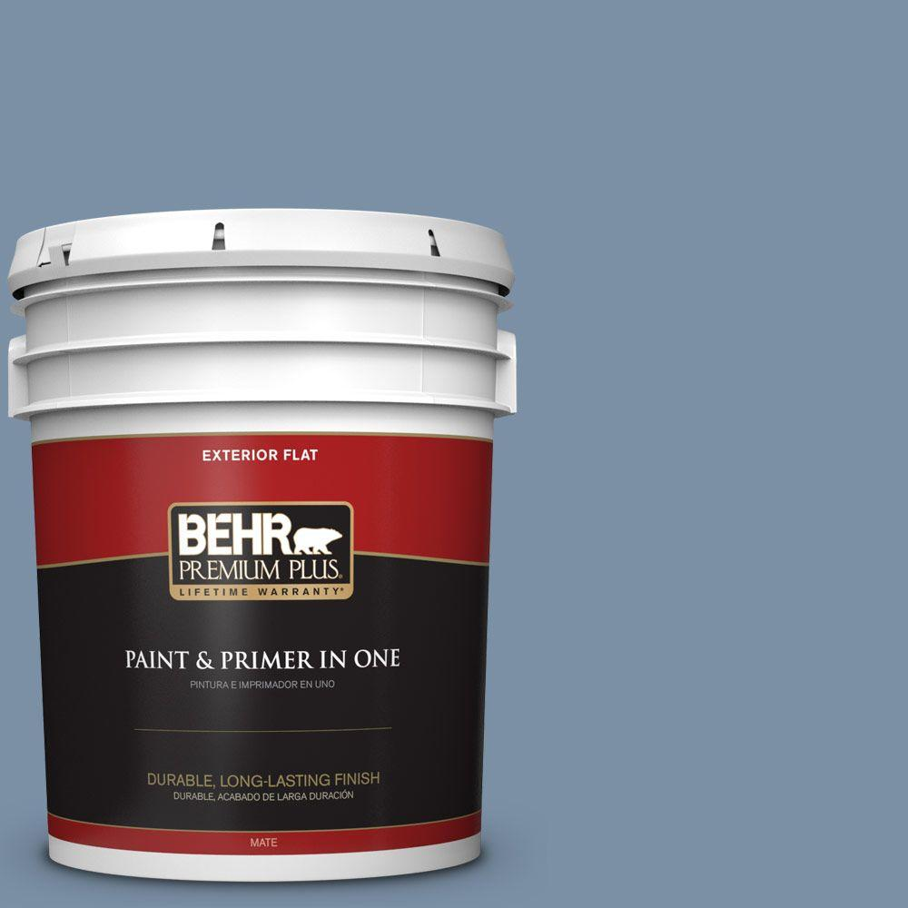 5 gal. #S510-4 Jean Jacket Blue Flat Exterior Paint and Primer
