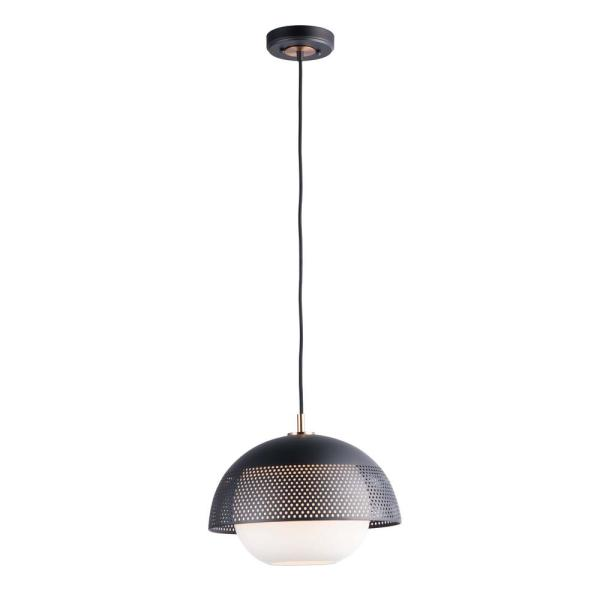 Perf 1-Light Black/Satin Brass Pendant