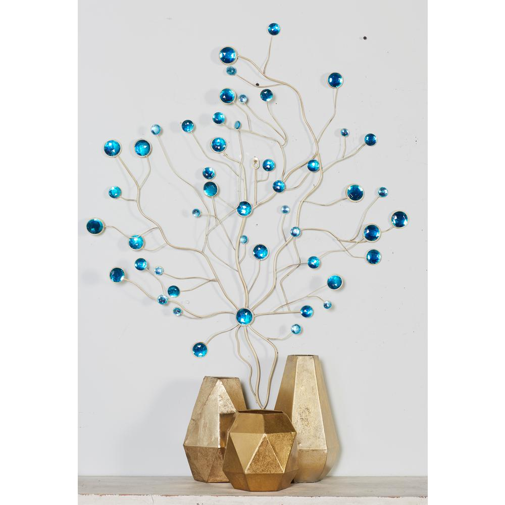 Iron and Acrylic Turquoise Beaded Abstract Branches Metal...