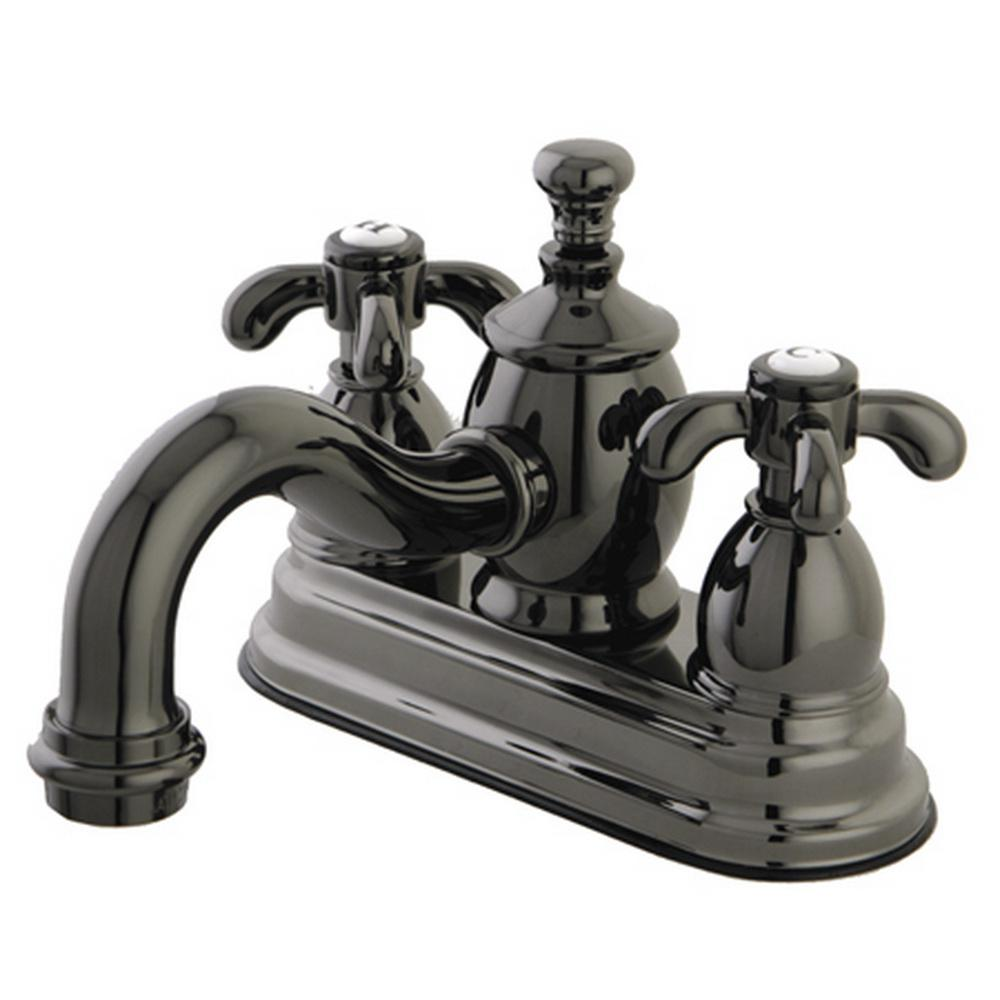 French Cross 4 in. Centerset 2-Handle Bathroom Faucet in Black Stainless