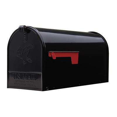 Elite Large Galvanized Steel Post-Mount Mailbox in Black