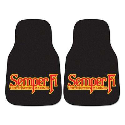 Marines 18 in. x 27 in. 2-Piece Carpeted Car Mat Set
