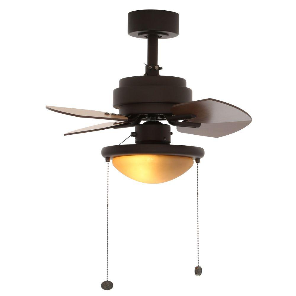 Hampton Bay Metarie 24 in. Indoor Oil-Rubbed Bronze Ceiling Fan with ...