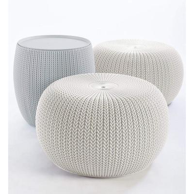 Knit Cozy Urban Oasis White and Cloudy Grey 3-Piece Resin All-Weather Patio Conversation Set