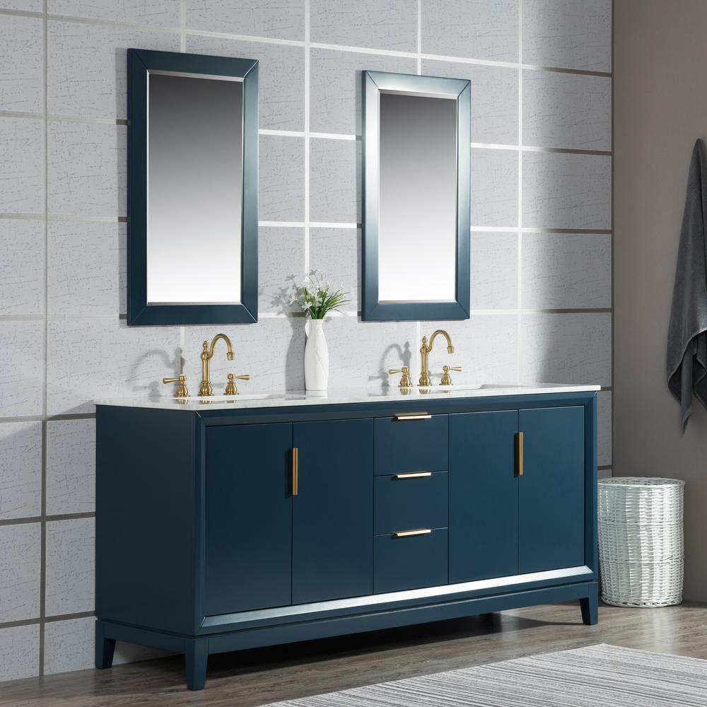 Water Creation Elizabeth 72 in. Monarch Blue With Carrara White Marble Vanity Top With Ceramics White Basins