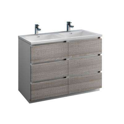 Lazzaro 48 in. Modern Double Bathroom Vanity in Glossy Ash Gray, Vanity Top in White with White Basins
