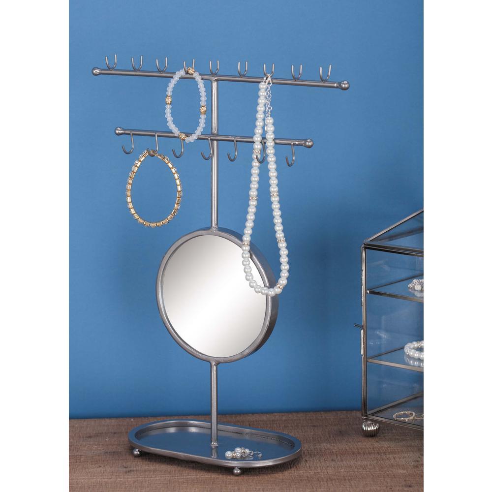 Modern Metallic Gray Jewelry Holder with Mirror