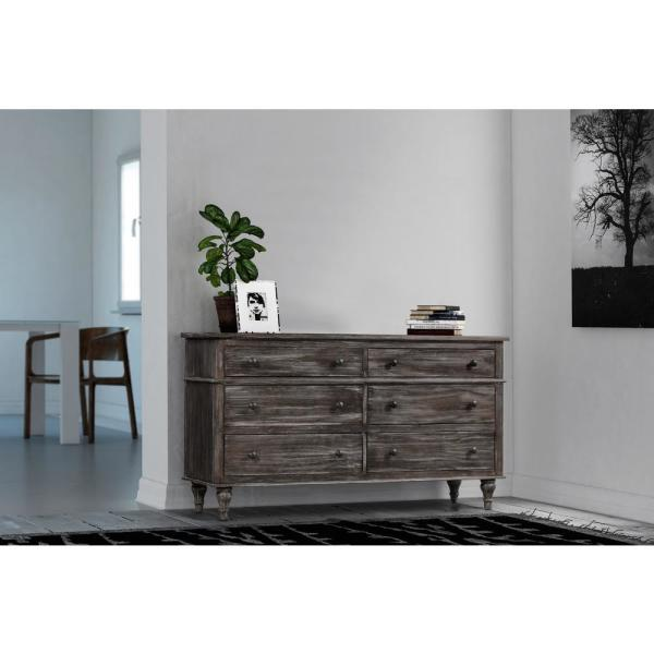 Crawford & Burke Valles 6-Drawer Distressed Charcoal Dresser 21124DF