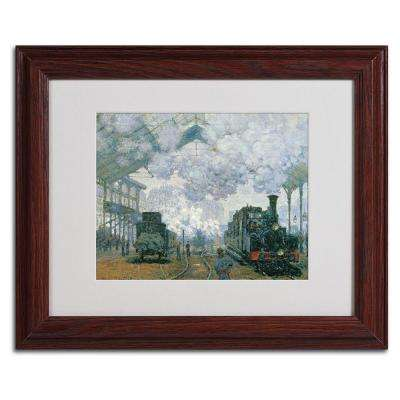 11 in. x 14 in. Gare Saint-Lazare Arrival of a Train Matted Brown Framed Wall Art