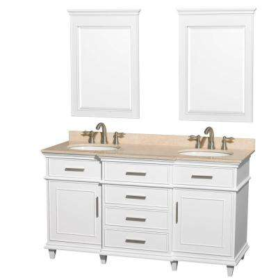 Berkeley 60 in. Double Vanity in White with Marble Vanity Top in Ivory, Oval Sink and 24 in. Mirrors