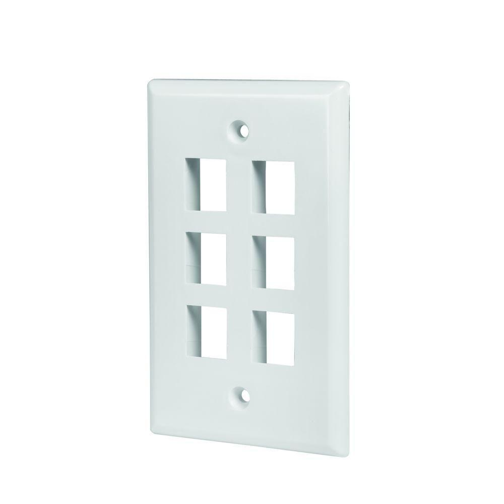 3 Pack White 4 Port//Hole Keystone Jack Modular Wall Plate Faceplate 2-Gang