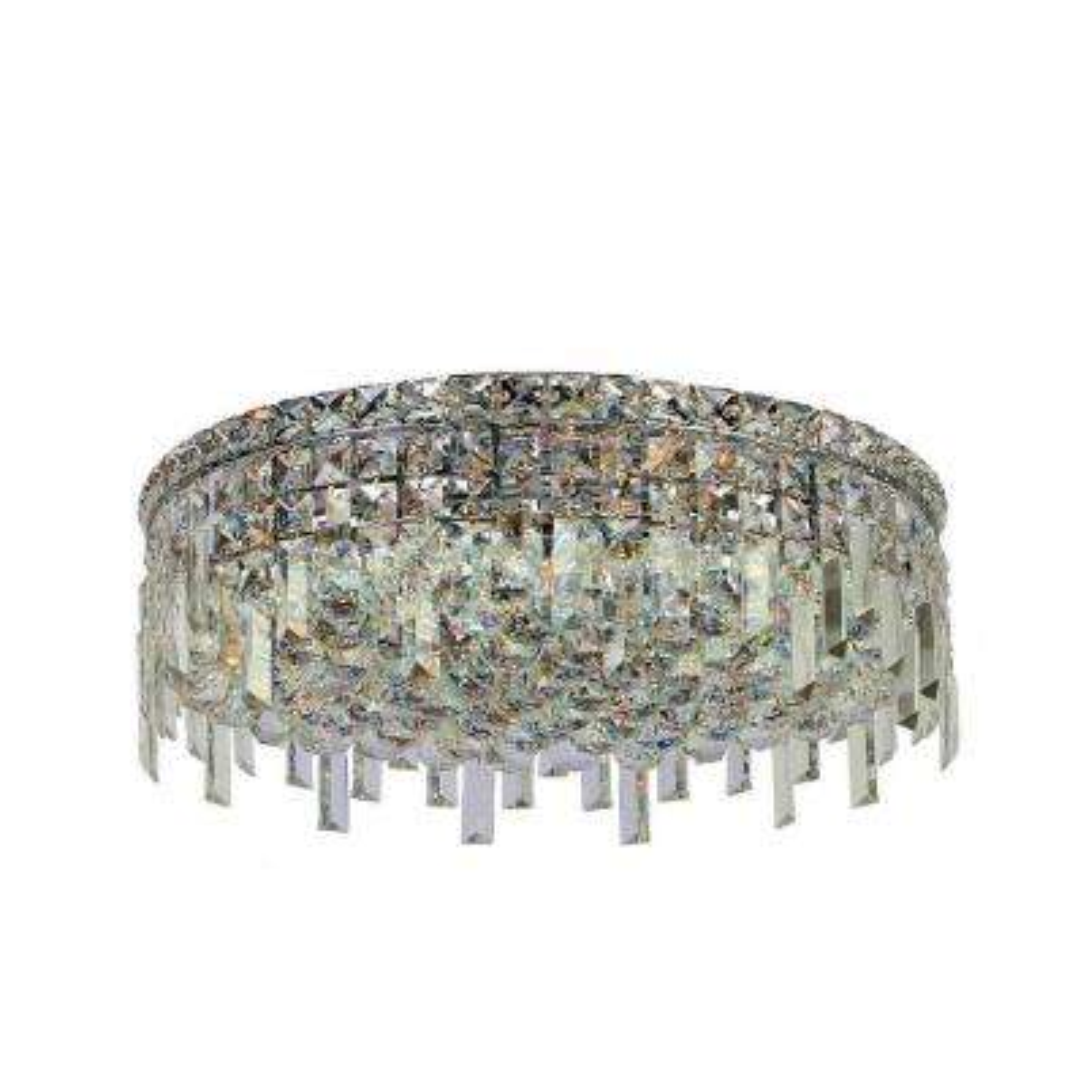 Cascade Collection 6-Light Chrome and Crystal Flushmount