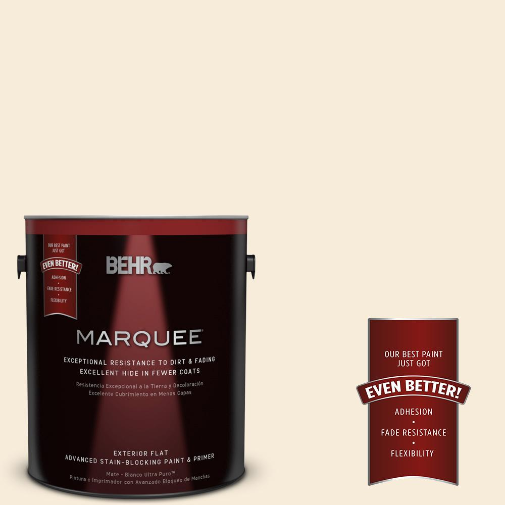 BEHR MARQUEE 1 gal. #70 Linen White Flat Exterior Paint
