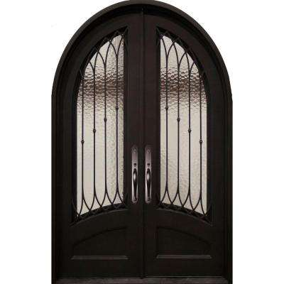 62 in. x 97.5 in. Concord Classic 3/4 Lite Painted Oil Rubbed Bronze Wrought Iron Prehung Front Door