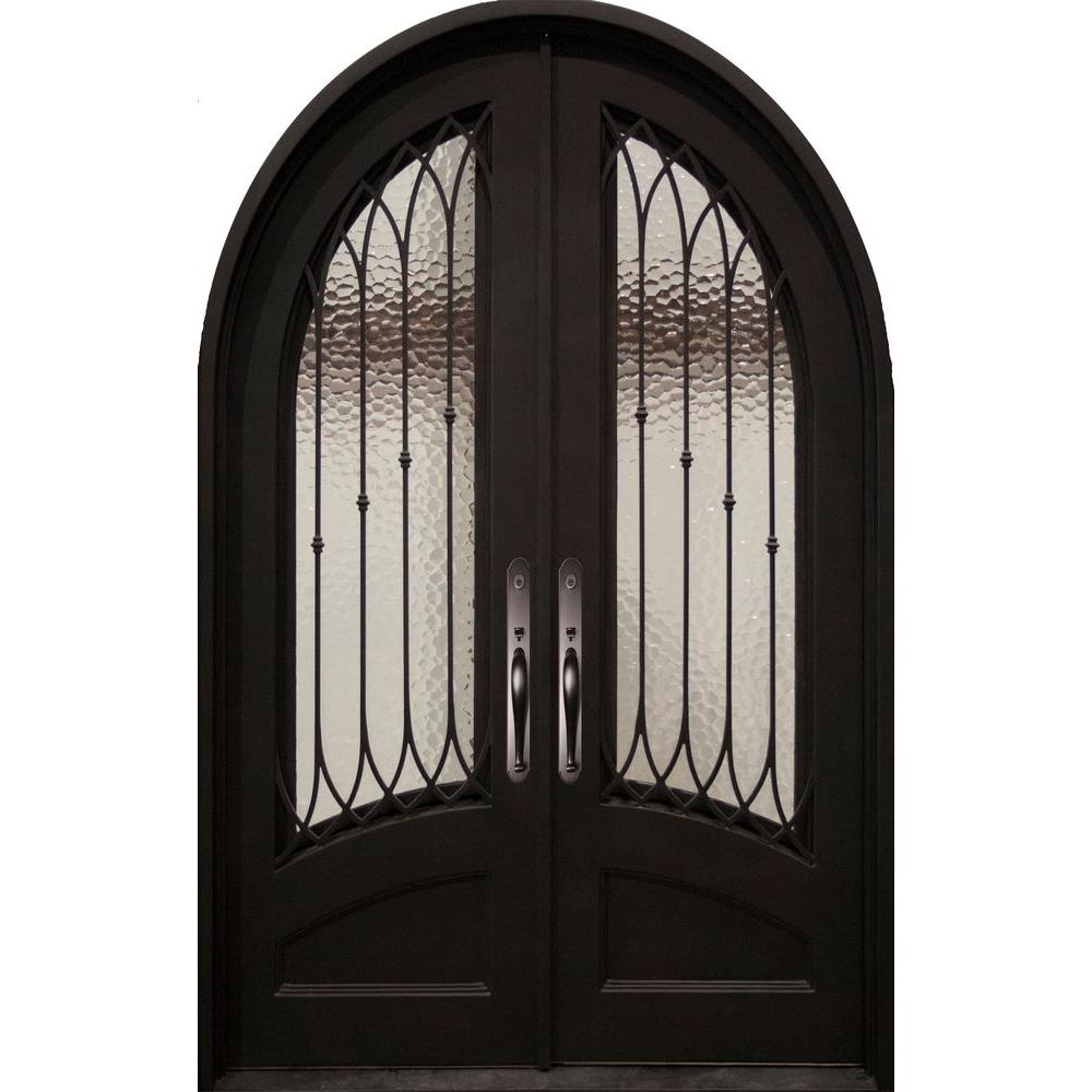 Iron Doors Unlimited Concord Classic 3/4 Lite Painted Oil Rubbed Bronze Decorative Wrought Iron Prehung Front Door
