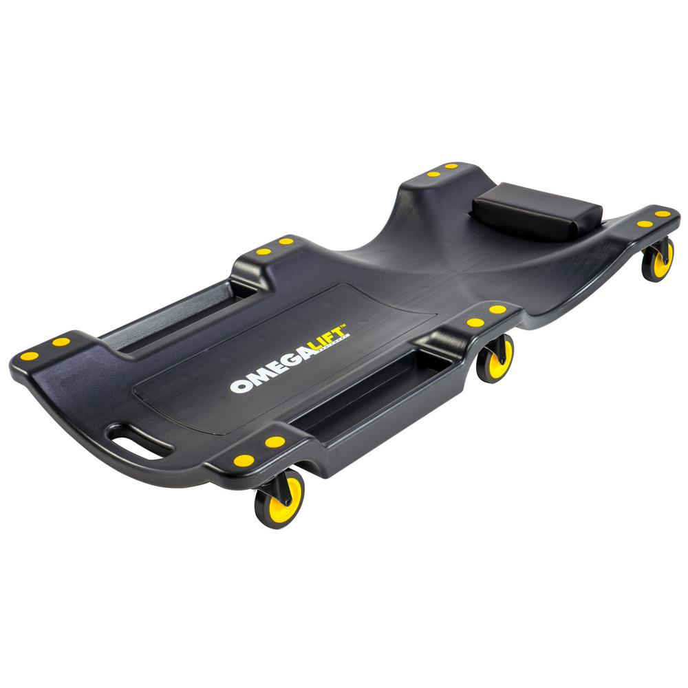 Omega Lift Mechanic Plastic Creeper 40 in. Ergonomic HDPE Body 350 lbs. Capacity Padded Headrest Dual Tool Trays in Red