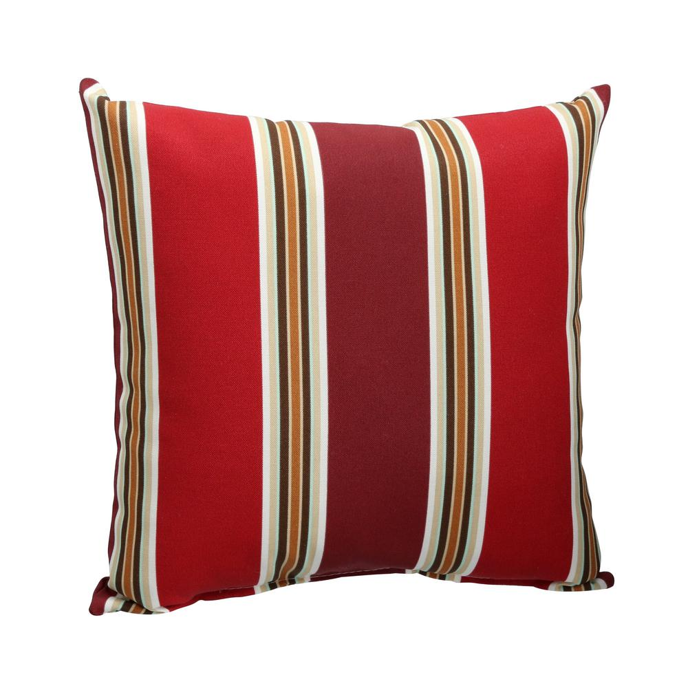 Chili Stripe Square Outdoor Throw Pillow