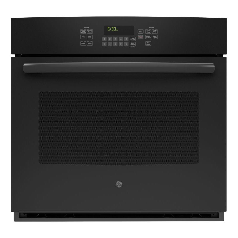 30 in. Single Electric Wall Oven Self-Cleaning with Steam in Black