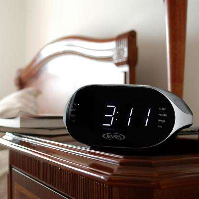 Black with Silver Accents Digital Bluetooth AM/FM Dual Alarm Clock Radio