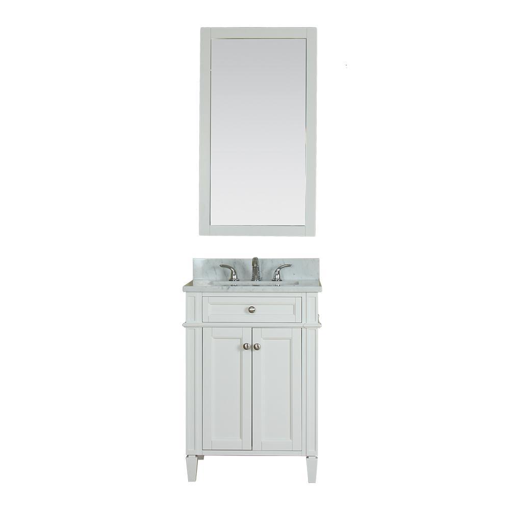 Alya Bath Samantha 24 in. W x 22 in. D Vanity in White with Marble Vanity Top in White with White Basin and Mirror