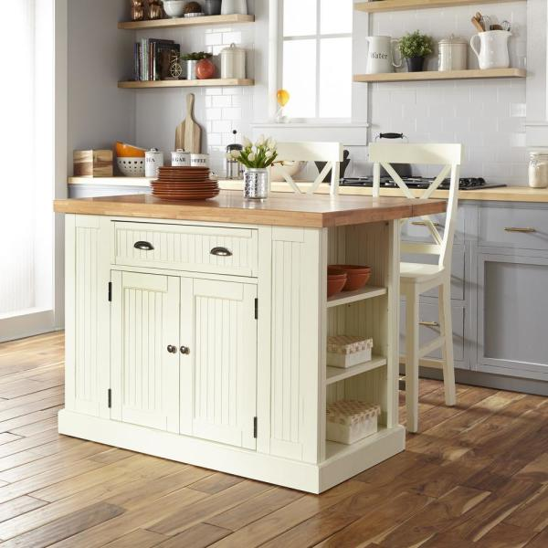 Homestyles Nantucket White Kitchen Island With Wood Top And 2 Counter Stools 5022 94n8 The Home Depot