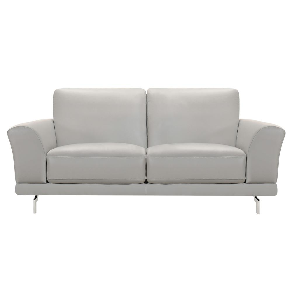 Armen Living Everly Genuine Dove Grey Leather Contemporary Loveseat with Brushed