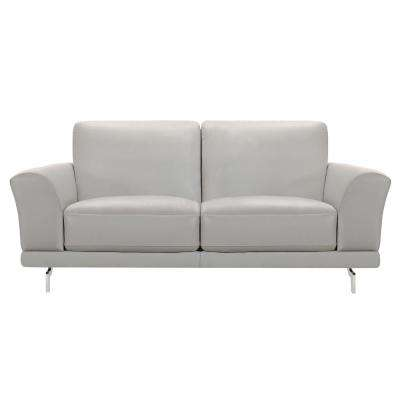 Armen Living Everly Genuine Dove Grey Leather Contemporary Loveseat with Brushed Stainless Steel Legs
