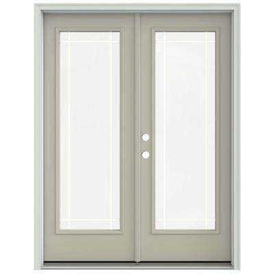 60 in. x 80 in. Desert Sand Prehung Right-Hand Inswing 9 Lite French Patio Door with Brickmould