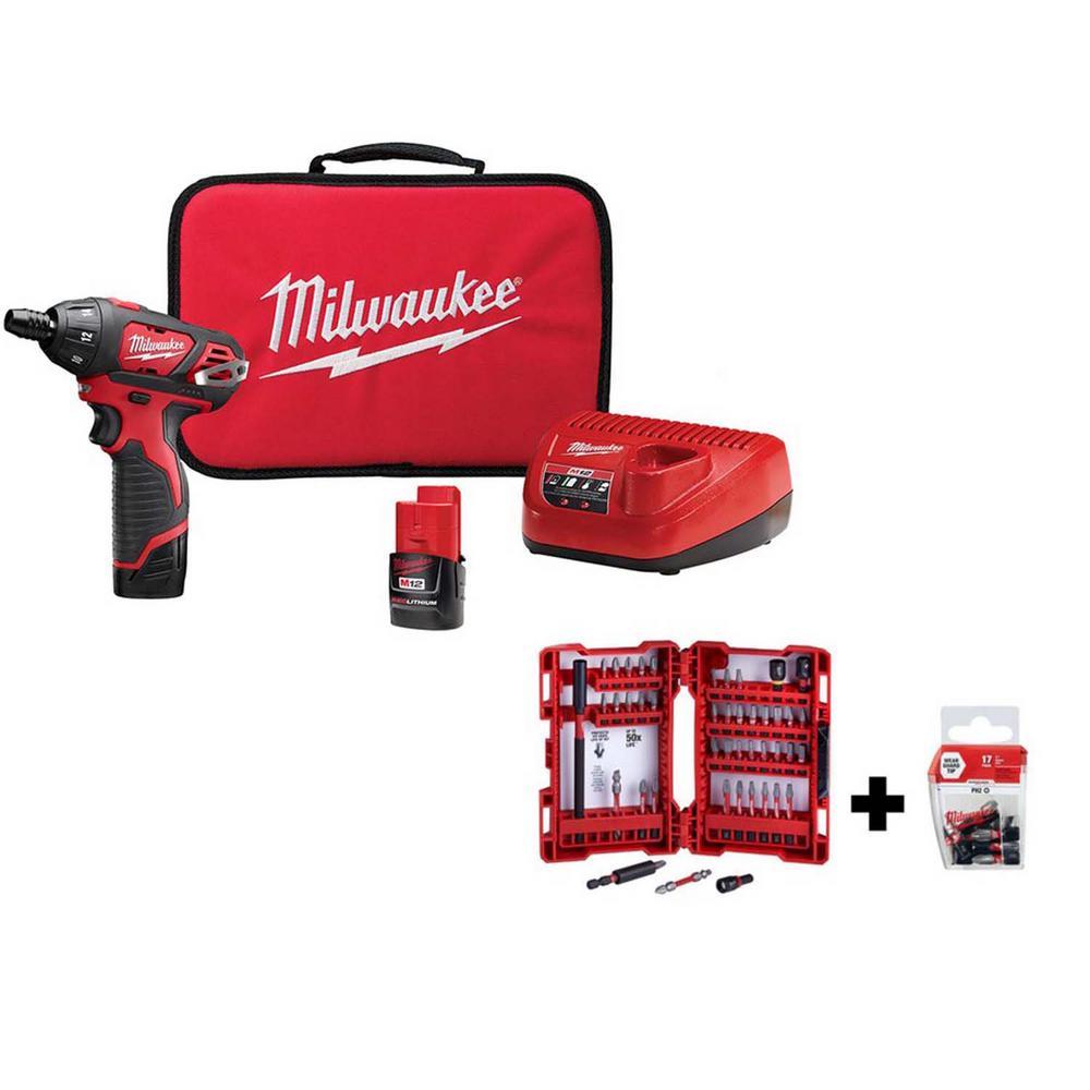 Milwaukee M12 12-Volt Lithium-Ion Cordless 1/4 in. Hex Screwdriver Kit w/SHOCKWAVE Impact-Duty Driver Bit Set (62-Piece)
