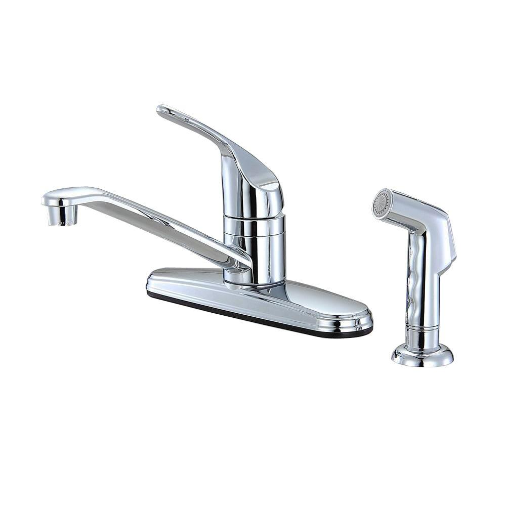 home depot sink faucets kitchen non metallic 1 handle standard kitchen faucet with side sprayer in chrome hs80mb455cp the home 5844
