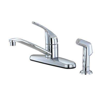Non-Metallic 1-Handle Standard Kitchen Faucet with Side Sprayer in Chrome