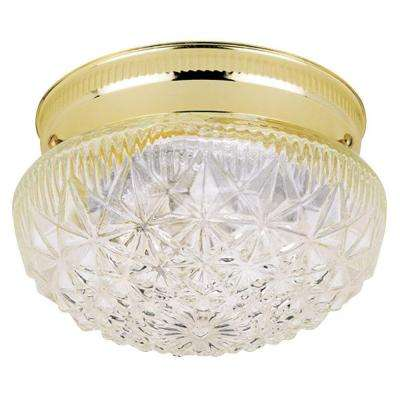 1-Light Ceiling Fixture Polished Brass Interior Flush-Mount with Clear Faceted Glass